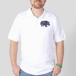 Blue Hippo Abstract Golf Shirt