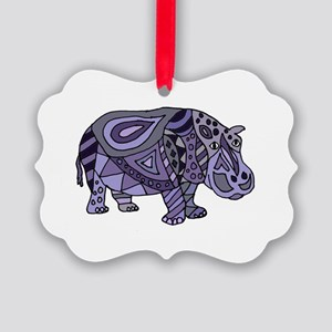 Blue Hippo Abstract Picture Ornament