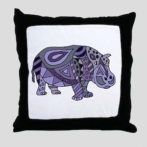 Blue Hippo Abstract Throw Pillow