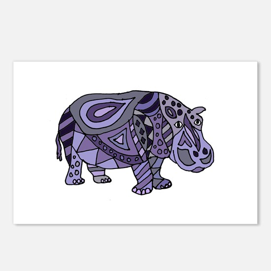 Blue Hippo Abstract Postcards (Package of 8)