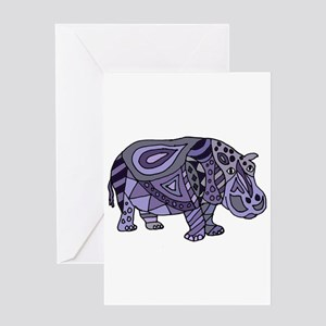 Blue Hippo Abstract Greeting Cards