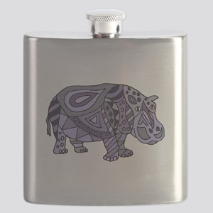 Blue Hippo Abstract Flask