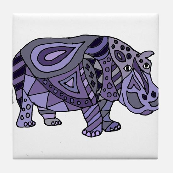Blue Hippo Abstract Tile Coaster
