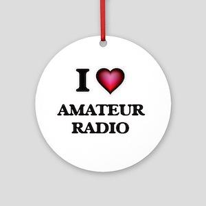 I Love Amateur Radio Round Ornament