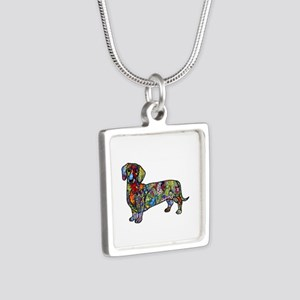 Wild Dachshund Silver Square Necklace
