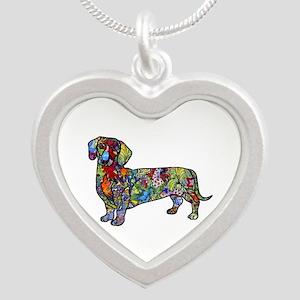 Wild Dachshund Silver Heart Necklace