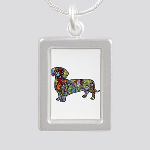 Wild Dachshund Silver Portrait Necklace