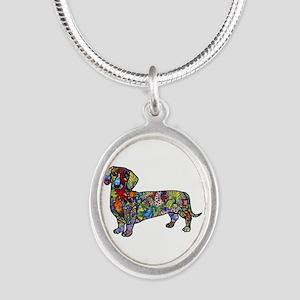 Wild Dachshund Silver Oval Necklace