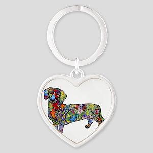 Wild Dachshund Heart Keychain