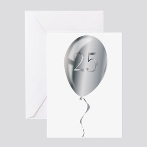 Silver Anniversary Balloon Greeting Cards