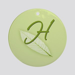 Leaves Monogram H Ornament (Round)