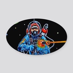 FIGHTING SPACEMAN Oval Car Magnet