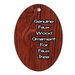 Genuine Faux Wood Oval Ornament