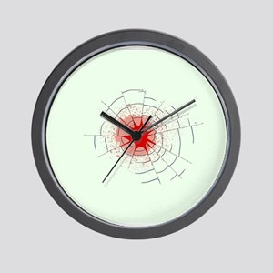 Single Bullet Holes in Glass Wall Clock