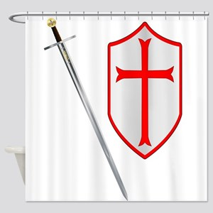 Crusaders Sword and Shield Shower Curtain