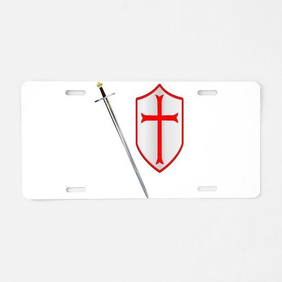 Crusaders Sword and Shield Aluminum License Plate