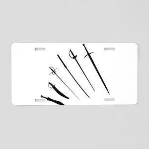 Sword Silhouettes Aluminum License Plate
