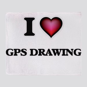 I Love Gps Drawing Throw Blanket