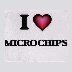 I Love Microchips Throw Blanket