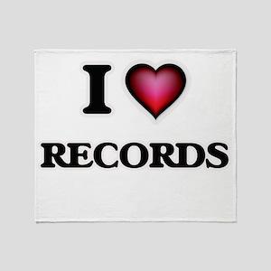 I Love Records Throw Blanket