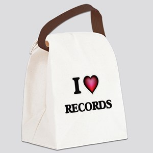 I Love Records Canvas Lunch Bag