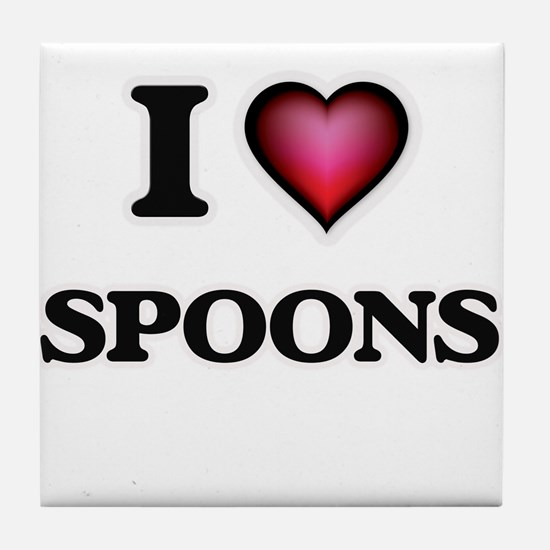 I Love Spoons Tile Coaster
