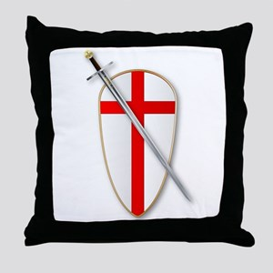 Crusaders Shield and Sword Throw Pillow