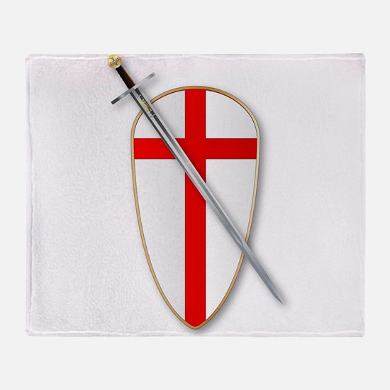 Crusaders Shield and Sword Throw Blanket