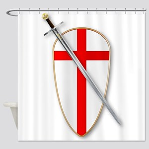 Crusaders Shield and Sword Shower Curtain