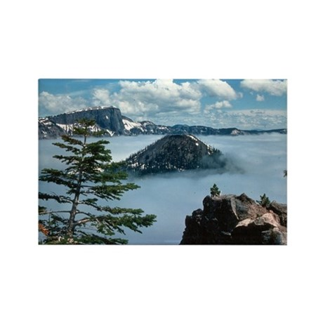 Foggy Crater Lake Rectangle Magnet