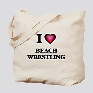I Love Beach Wrestling Tote Bag