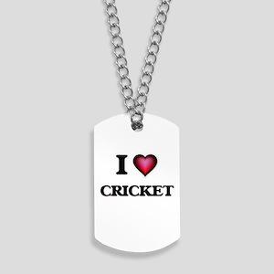 I Love Cricket Dog Tags