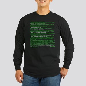 Hackers Manifesto Black Shirt Long Sleeve T-Shirt