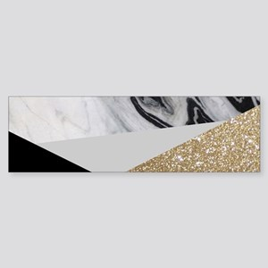 contemporary gold glitter marble Bumper Sticker