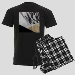 contemporary gold glitter marb Men's Dark Pajamas