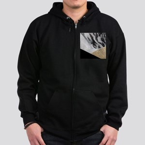 contemporary gold glitter marble Zip Hoodie (dark)