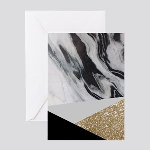 Geometric gold glitter marble Greeting Cards