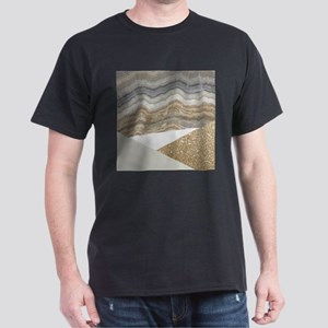 Geometric gold glitter Marble T-Shirt