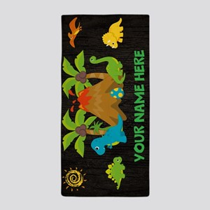 Personalized Boys Dinosaur Volcano Beach Towel