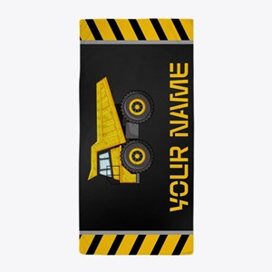 Dump Truck Constuction Personalized Beach Towel