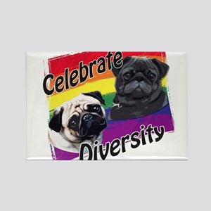 Celebrate Diversity Gay Pride Pugs Magnets