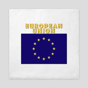 European Union Flag W Txt Queen Duvet