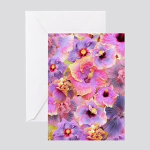 Tropical Hibiscus -seamless pattern Greeting Cards