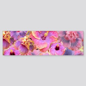 Tropical Hibiscus -seamless pattern Bumper Sticker