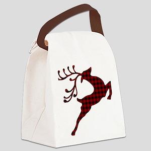 Plaid deer Canvas Lunch Bag