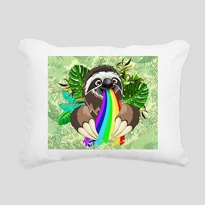 Sloth Spitting Rainbow Rectangular Canvas Pillow