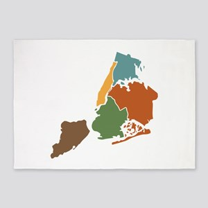 Five Boroughs New York 5'x7'Area Rug
