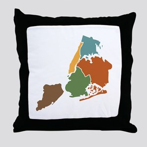 Five Boroughs New York Throw Pillow