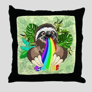 Sloth Spitting Rainbow Throw Pillow