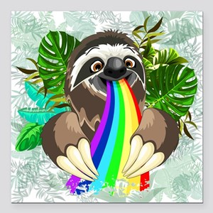 "Sloth Spitting Rainbow Square Car Magnet 3"" x 3"""